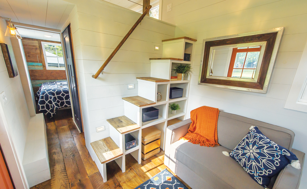 Interior of Driftwood tiny house featured at the Decatur Tiny House Festival